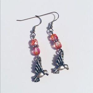 Czech Pink Beaded Hummingbird Earrings